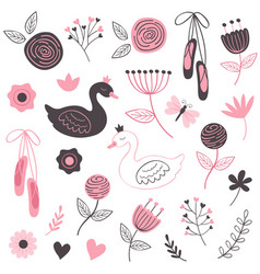set of isolated beautiful flowers and swans vector image
