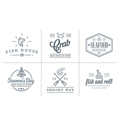 Set sea food elements and sea signs can be used vector