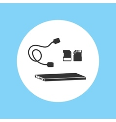 Silhouette icon hard disk file ssd footage vector