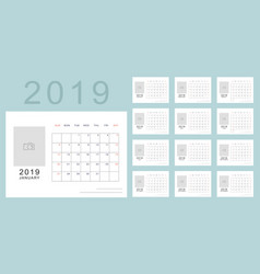 simple minimalistic calendar of new 2019 year vector image