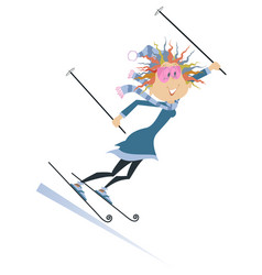 Skier woman isolated vector
