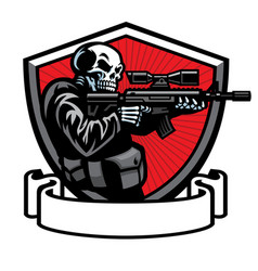 skull soldier shooting assault rifle vector image