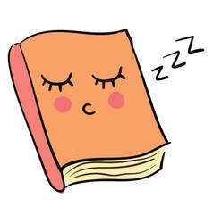 Sleepy book on white background vector