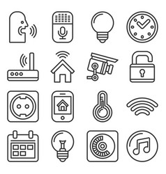 smart home and voice control icons set line style vector image