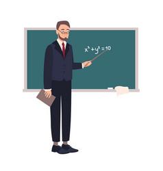Smiling school mathematics teacher or university vector