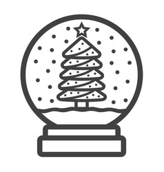 snow globe line icon new year and christmas vector image