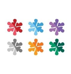 Snowflake shape logo icons set Logo vector image