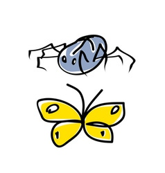 spider and butterfly cartoon vector image