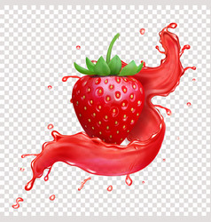 strawberry realistic juice splash icon vector image