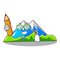 Student miniature mountain in the character form vector