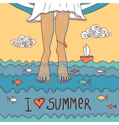 Summer card with legs in the sea vector