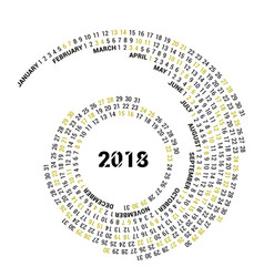 the graphic calendar for 2018 new year is located vector image