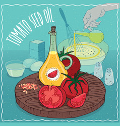 Tomato seed oil used for cooking vector