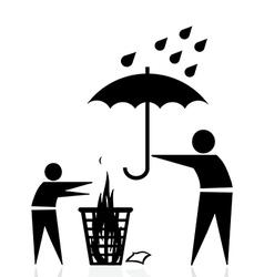 trash fire rain vector image