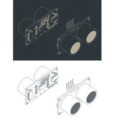 Ultrasonic sensor for robotics drawings vector
