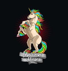 unicorn horse colorful graphic vector image