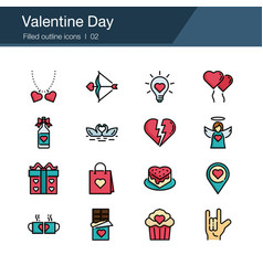 valentine day icons filled out design vector image