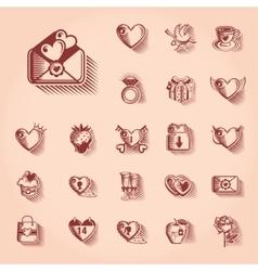 Valentines Day Retro Icon Set vector image