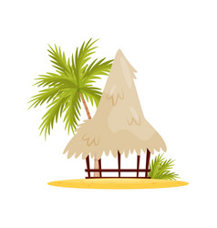 vietnamese beach bungalow palm tree and green vector image