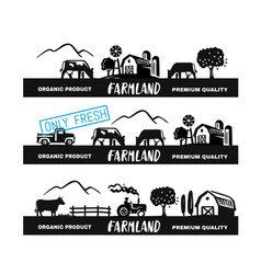 village long emblem with text farmer signs for vector image