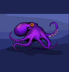 vintage cartoon colorfull octopus vector image
