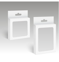 white product package box with hang slot vector image