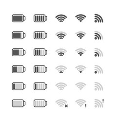 wifi icon digital ui symbols battery charging vector image