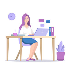 Woman at computer vector