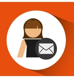 woman icon with email message envelope vector image