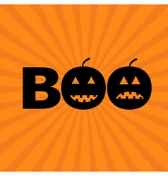 Word boo text with smiling sad black pumpkin vector
