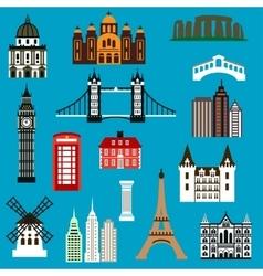 World travel landmark flat icons vector image