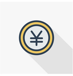 Yen coin money finance currency thin line flat vector