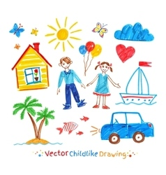 Childlike drawing set vector image vector image