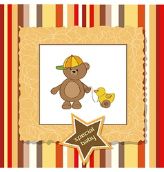 cute greeting card with boy teddy bear vector image