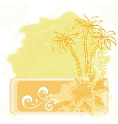 Exotic background palm and flowers vector image