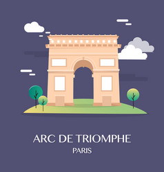 famous landmark arc de triomphe paris france vector image