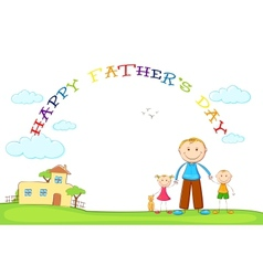 Father with Kids in Fathers Day background vector image