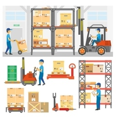 Logistic and delivery service set vector image vector image