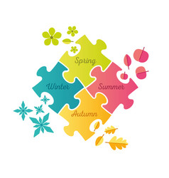 seasons puzzle infographic - spring summer autumn vector image