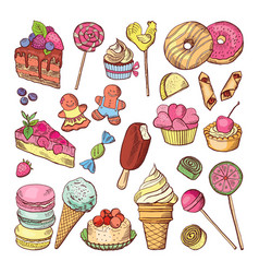 wedding desserts sweets cupcakes and ice cream in vector image vector image