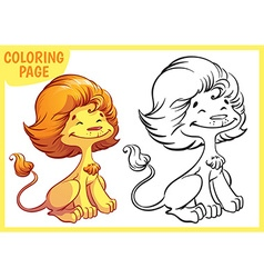 Coloring page Happy golden lion vector image vector image