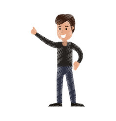 Drawing man celebration happiness vector