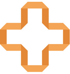 orange cross on a white background vector image