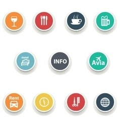 set of round icons vector image