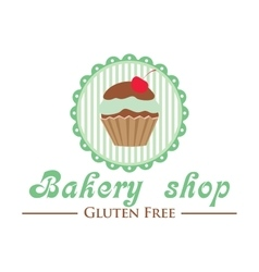 Gluten free bakery shop logo Cute cupcake on vector image