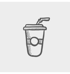 Soda in plastic cup with straw sketch icon vector image