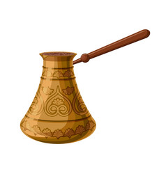 turkish traditional decorated copper cezve vector image