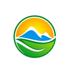 abstract mountain green leaf nature logo vector image vector image