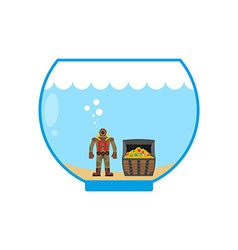 Diver and treasure chest in Aquarium Miniature vector image