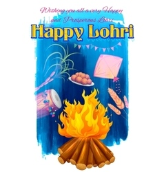 Happy Lohri background vector image vector image